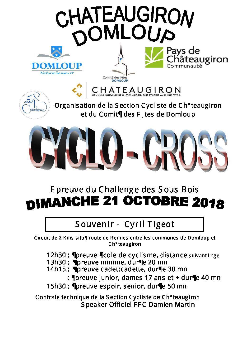 Pages de pdf première page Cyclo Cross